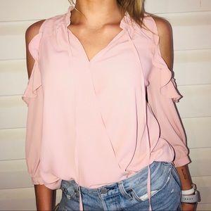 fa4c287e004 Blush pink blue rain silky blouse. Never worn.
